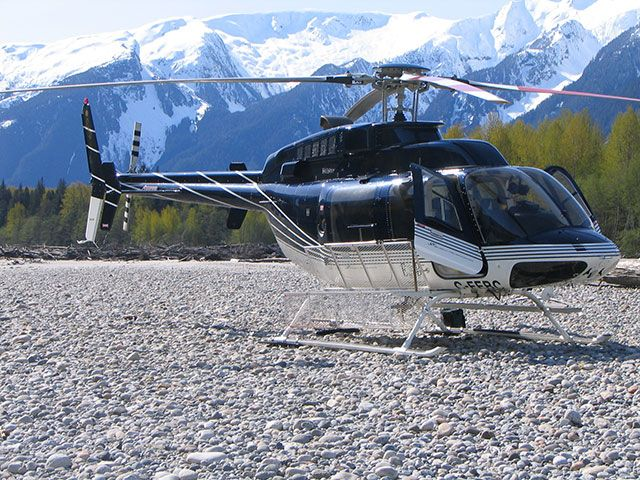 Helicopter in mountain terrain