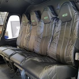 Upholstered interior of helicopter